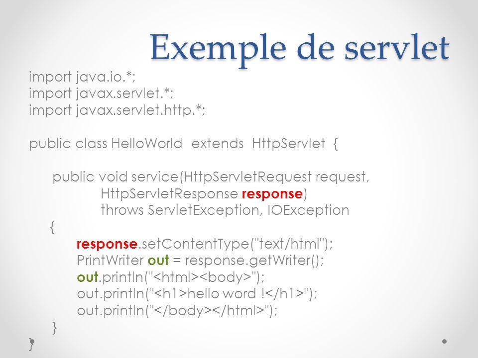 Exemple de servlet import java.io.*; import javax.servlet.*; import javax.servlet.http.*; public class HelloWorld extends HttpServlet { public void service(HttpServletRequest request, HttpServletResponse response ) throws ServletException, IOException { response.setContentType( text/html ); PrintWriter out = response.getWriter(); out.println( ); out.println( hello word .