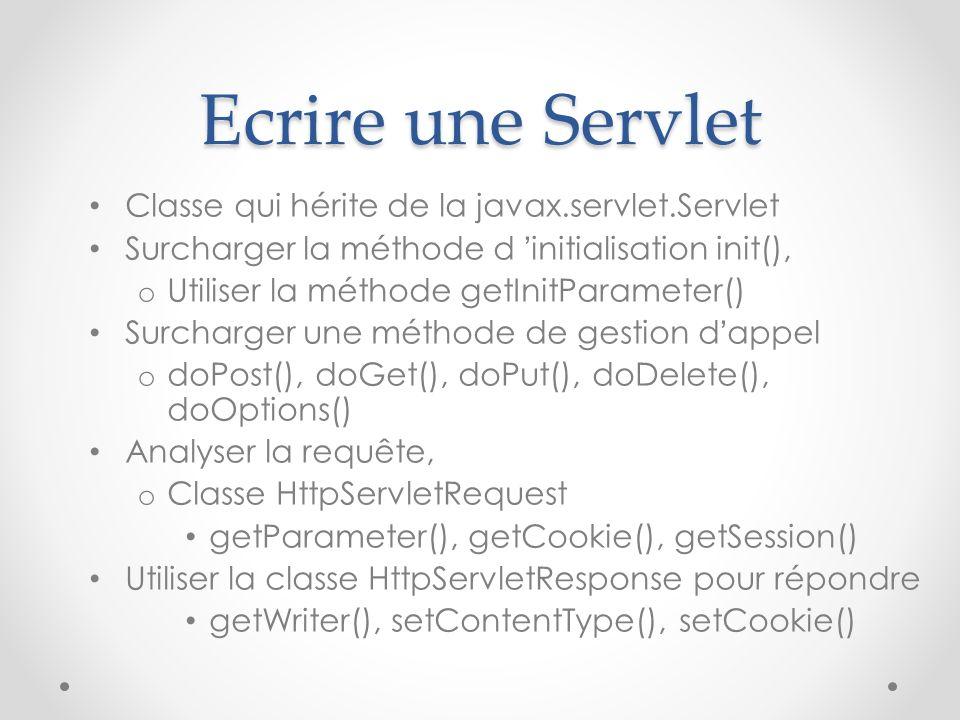Ecrire une Servlet Classe qui hérite de la javax.servlet.Servlet Surcharger la méthode d initialisation init(), o Utiliser la méthode getInitParameter