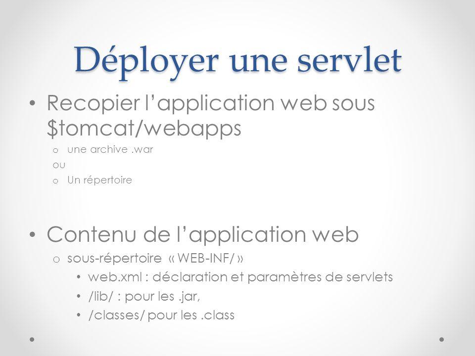 Déployer une servlet Recopier lapplication web sous $tomcat/webapps o une archive.war ou o Un répertoire Contenu de lapplication web o sous-répertoire