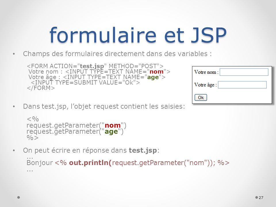 formulaire et JSP Champs des formulaires directement dans des variables : Votre nom : Votre âge : Dans test.jsp, lobjet request contient les saisies:
