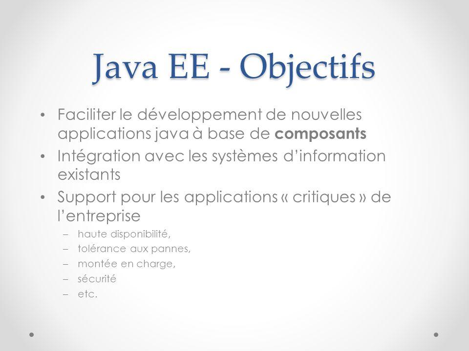 Java EE - Objectifs Faciliter le développement de nouvelles applications java à base de composants Intégration avec les systèmes dinformation existant