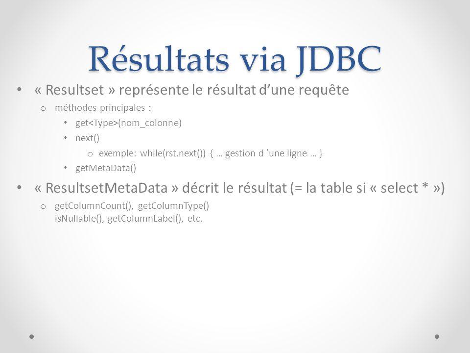 Résultats via JDBC « Resultset » représente le résultat dune requête o méthodes principales : get (nom_colonne) next() o exemple: while(rst.next()) {