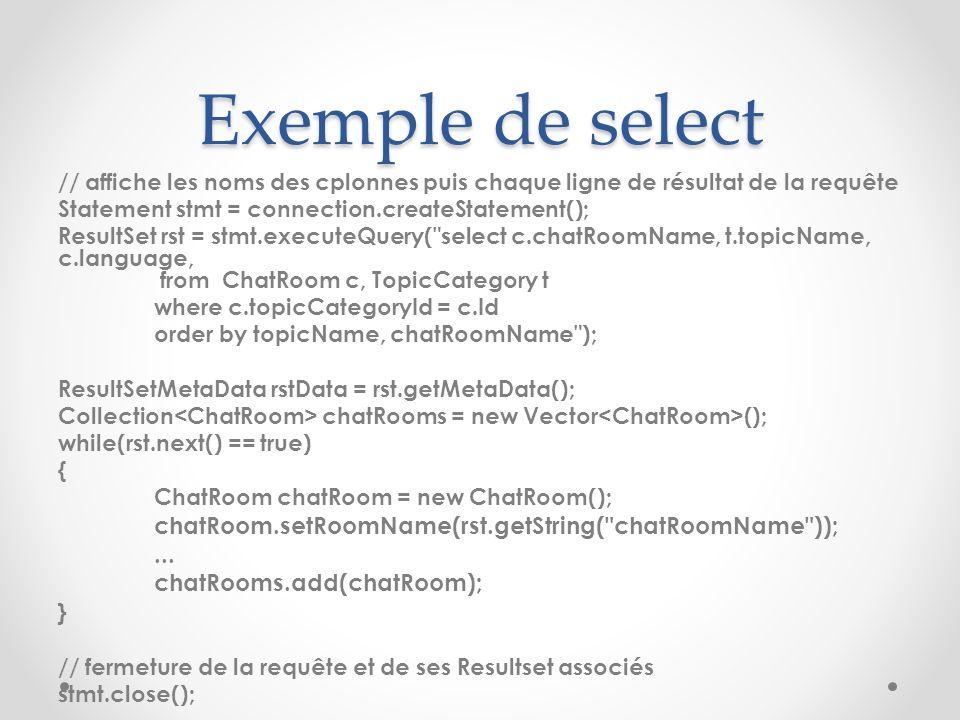 Exemple de select // affiche les noms des cplonnes puis chaque ligne de résultat de la requête Statement stmt = connection.createStatement(); ResultSe