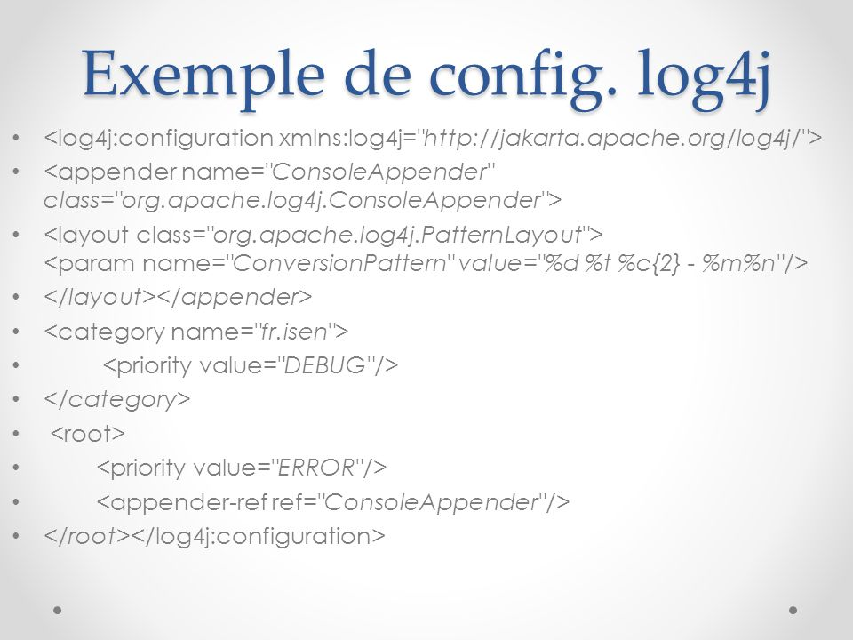 Exemple de config. log4j