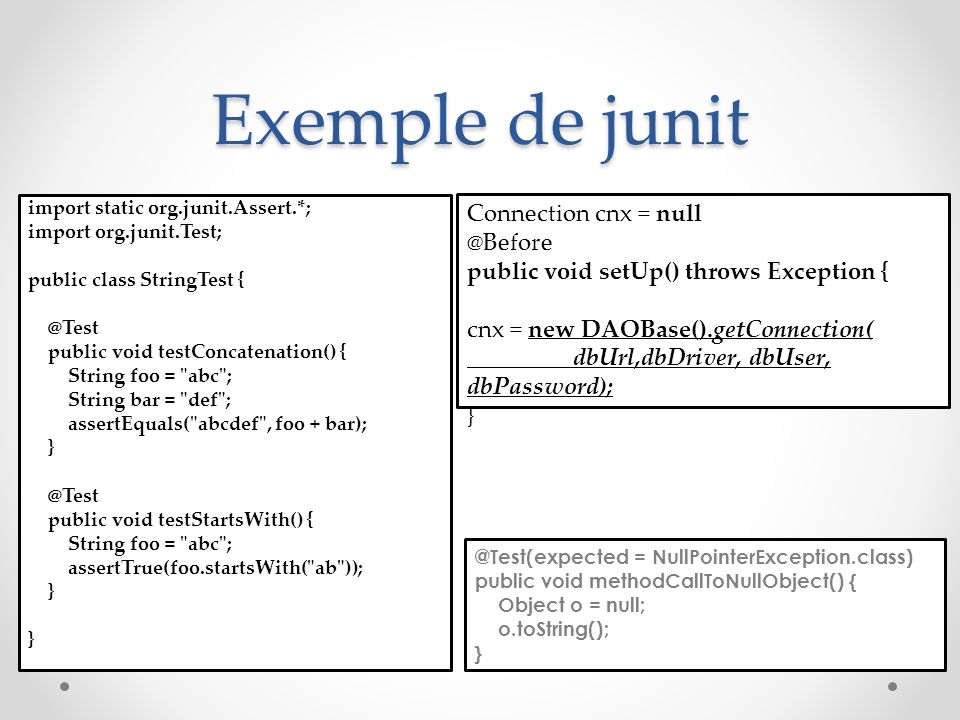 Exemple de junit import static org.junit.Assert.*; import org.junit.Test; public class StringTest { @Test public void testConcatenation() { String foo