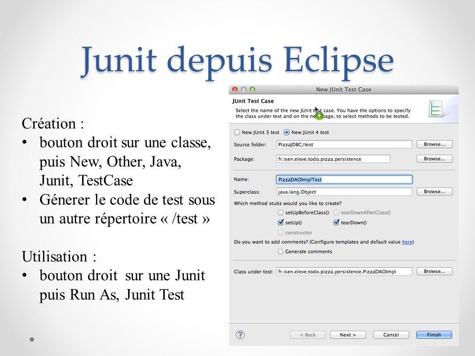Junit depuis Eclipse Création : bouton droit sur une classe, puis New, Other, Java, Junit, TestCase Génerer le code de test sous un autre répertoire «