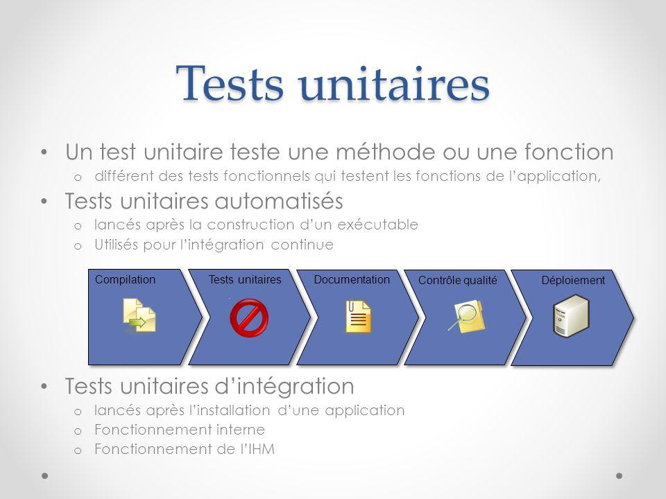 Tests unitaires Un test unitaire teste une méthode ou une fonction o différent des tests fonctionnels qui testent les fonctions de lapplication, Tests