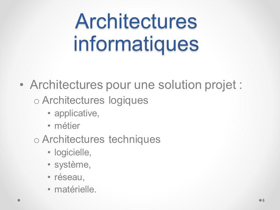 Architectures informatiques Architectures pour une solution projet : o Architectures logiques applicative, métier o Architectures techniques logiciell
