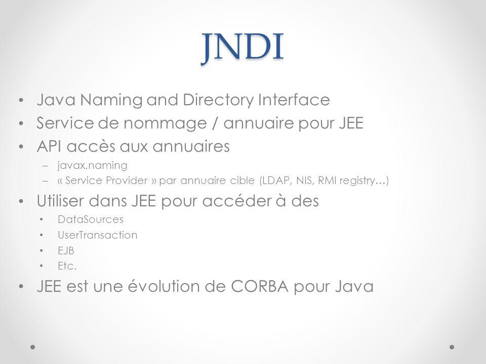 JNDI Java Naming and Directory Interface Service de nommage / annuaire pour JEE API accès aux annuaires – javax.naming – « Service Provider » par annu