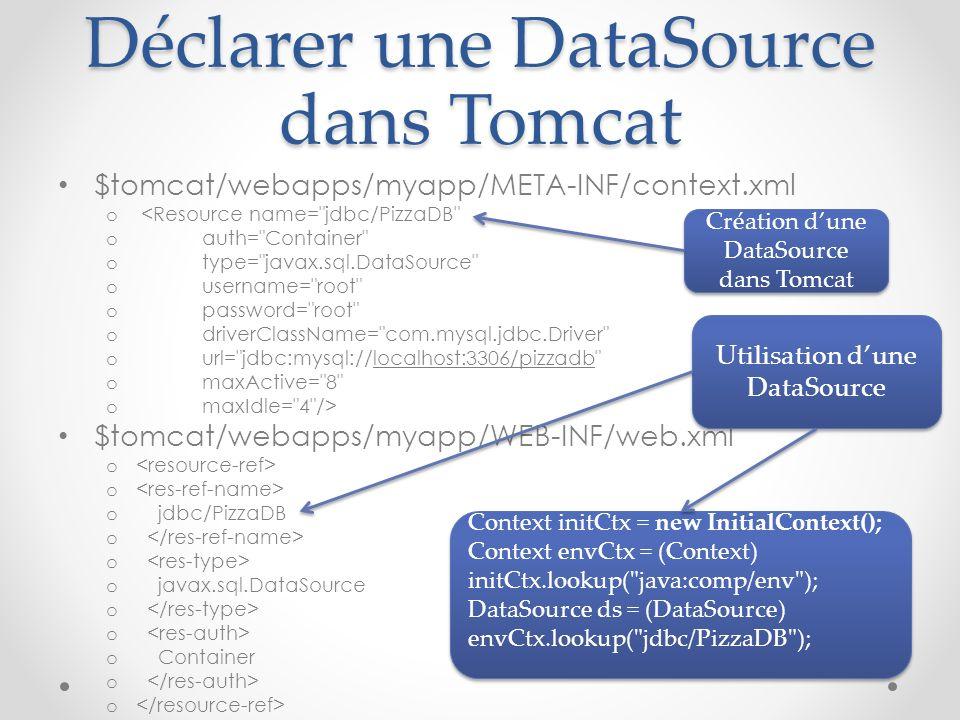 Déclarer une DataSource dans Tomcat $tomcat/webapps/myapp/META-INF/context.xml o <Resource name=