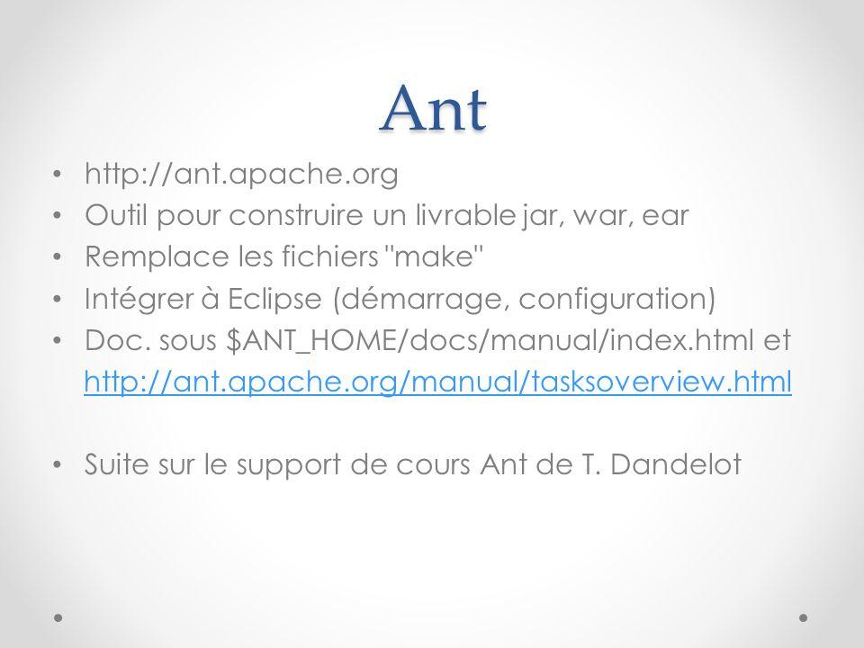Ant http://ant.apache.org Outil pour construire un livrable jar, war, ear Remplace les fichiers