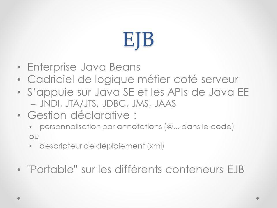 EJB Enterprise Java Beans Cadriciel de logique métier coté serveur Sappuie sur Java SE et les APIs de Java EE – JNDI, JTA/JTS, JDBC, JMS, JAAS Gestion