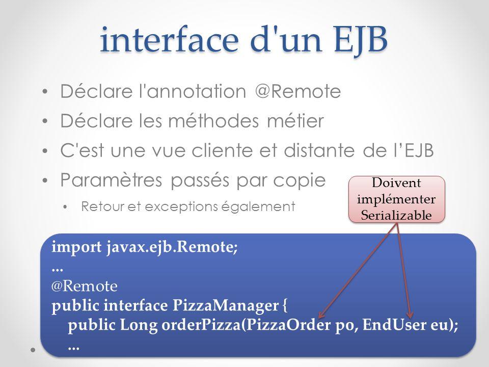 interface d'un EJB Déclare l'annotation @Remote Déclare les méthodes métier C'est une vue cliente et distante de lEJB Paramètres passés par copie Reto