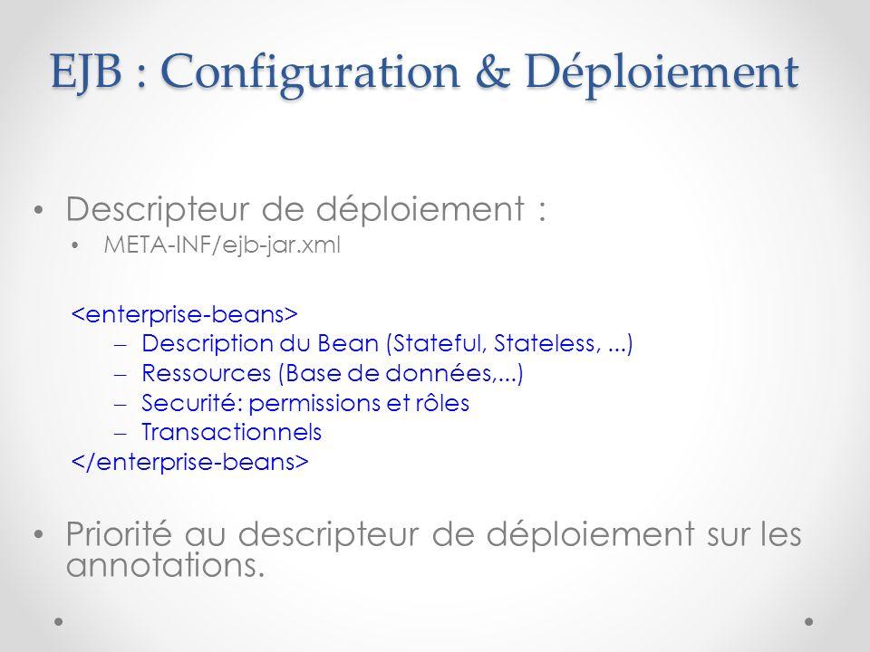 EJB : Configuration & Déploiement Descripteur de déploiement : META-INF/ejb-jar.xml – Description du Bean (Stateful, Stateless,...) – Ressources (Base