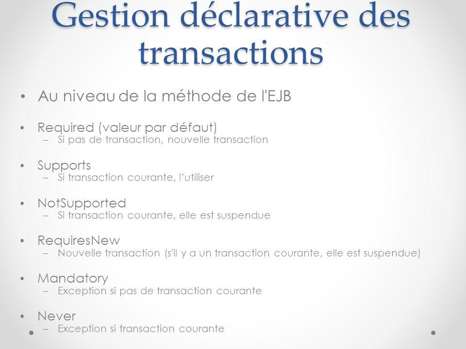 Gestion déclarative des transactions Au niveau de la méthode de l'EJB Required (valeur par défaut) – Si pas de transaction, nouvelle transaction Suppo