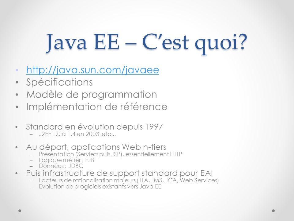 Java EE – Cest quoi? http://java.sun.com/javaee Spécifications Modèle de programmation Implémentation de référence Standard en évolution depuis 1997 –
