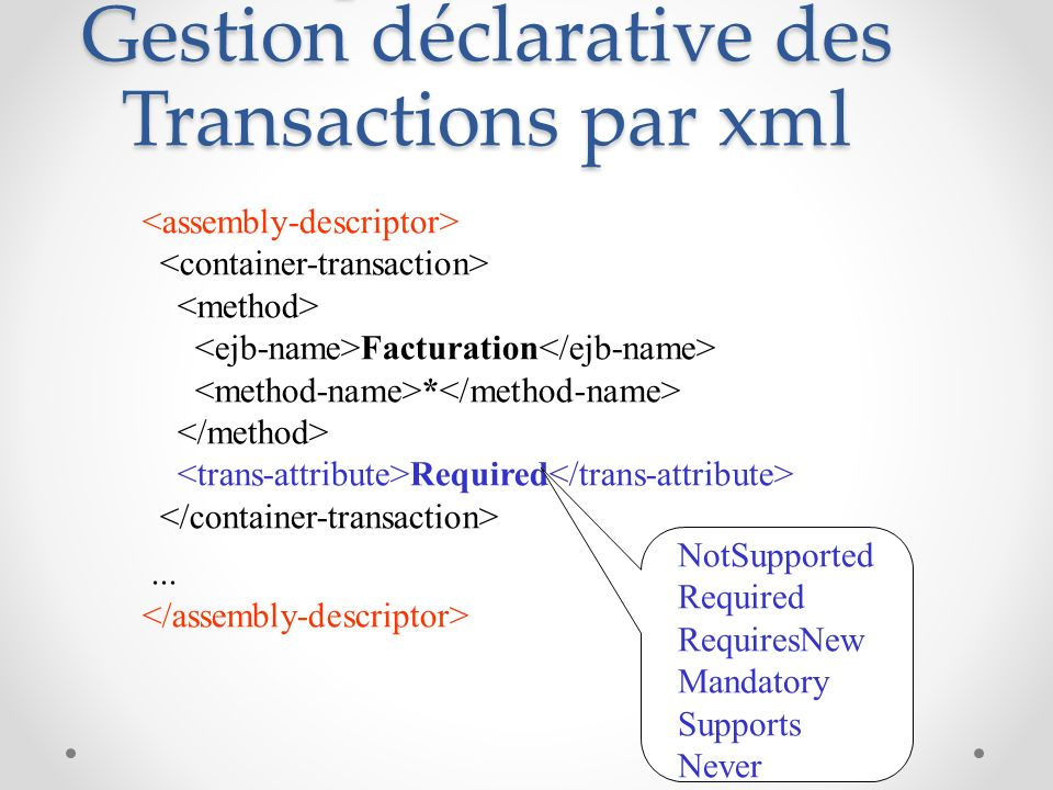 Descripteur de déploiement : Gestion déclarative des Transactions par xml Facturation * Required... NotSupported Required RequiresNew Mandatory Suppor