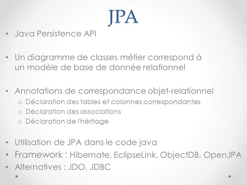JPA Java Persistence API Un diagramme de classes métier correspond à un modèle de base de donnée relationnel Annotations de correspondance objet-relat