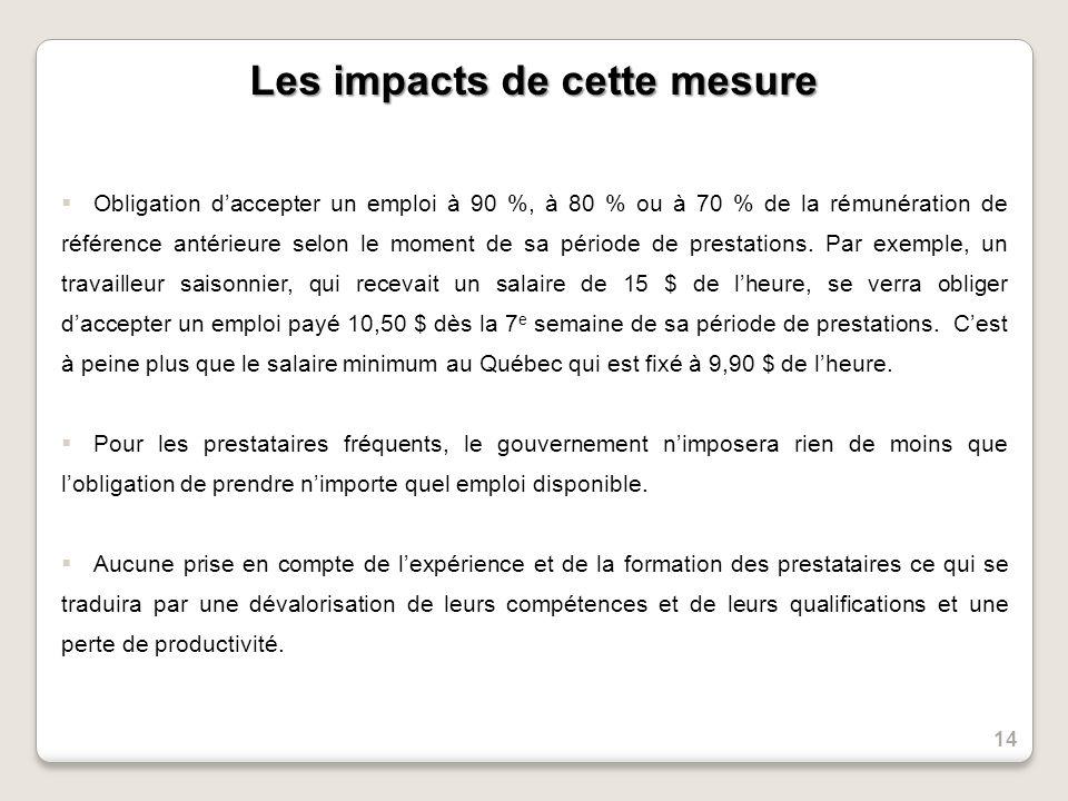 Les impacts de cette mesure Obligation daccepter un emploi à 90 %, à 80 % ou à 70 % de la rémunération de référence antérieure selon le moment de sa période de prestations.