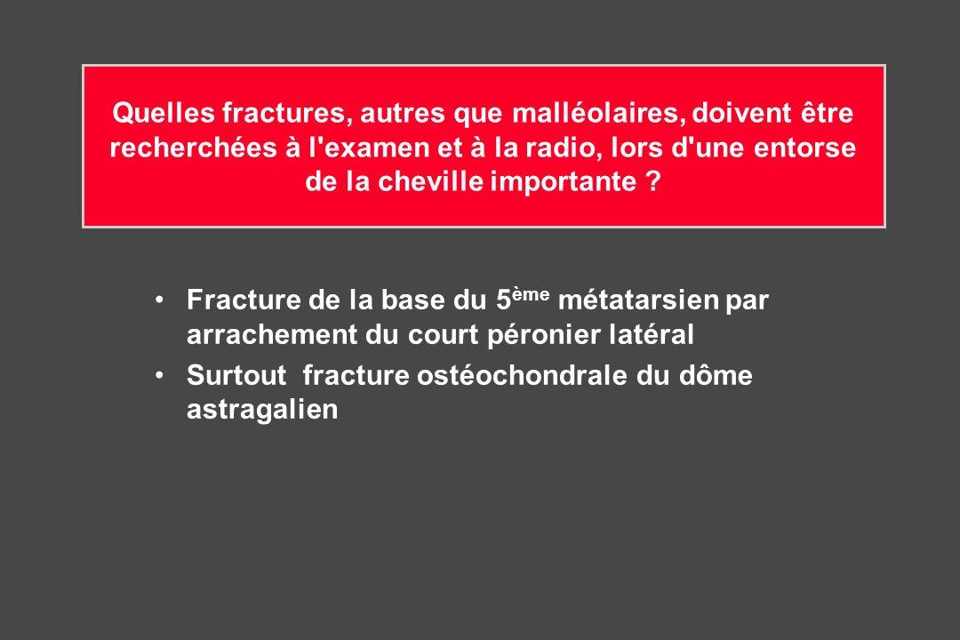 Quelles fractures, autres que malléolaires, doivent être recherchées à l examen et à la radio, lors d une entorse de la cheville importante .