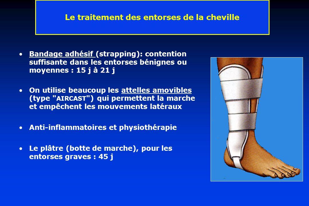 Le traitement des entorses de la cheville Bandage adhésif (strapping): contention suffisante dans les entorses bénignes ou moyennes : 15 j à 21 j On u
