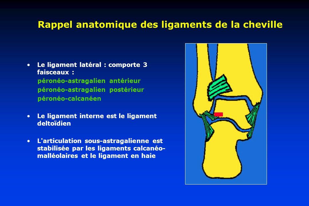 Rappel anatomique des ligaments de la cheville Le ligament latéral : comporte 3 faisceaux : péronéo-astragalien antérieur péronéo-astragalien postérie