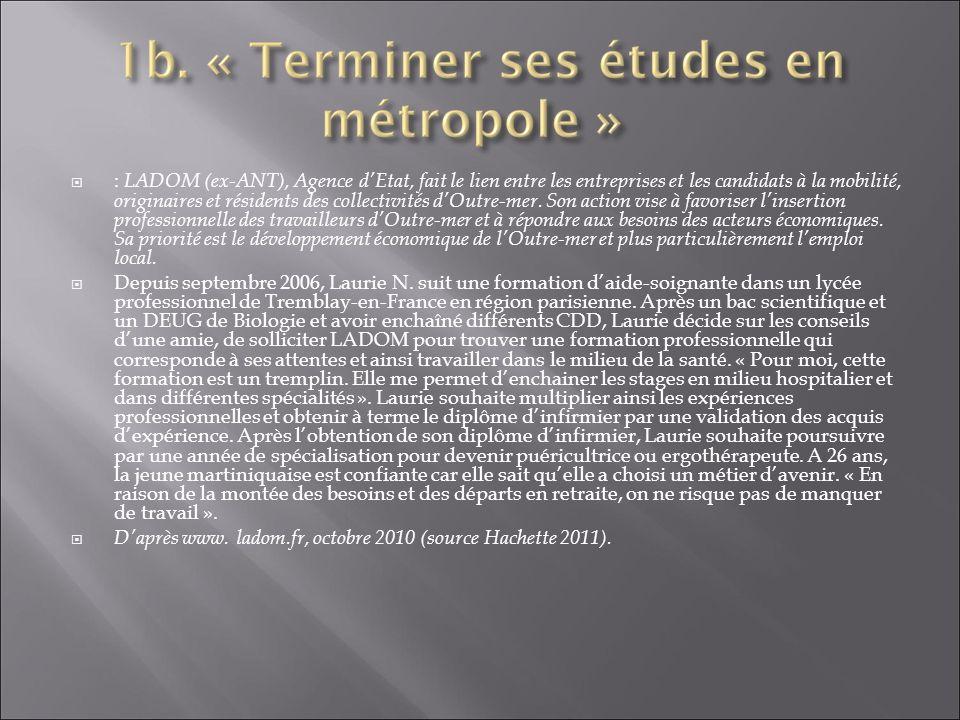 Montrez à partir des deux documents que pour les ultramarins, séjourner en métropole est un facteur de réussite professionnelle.