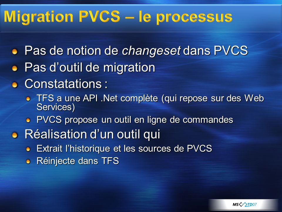 Pas de notion de changeset dans PVCS Pas doutil de migration Constatations : TFS a une API.Net complète (qui repose sur des Web Services) PVCS propose un outil en ligne de commandes Réalisation dun outil qui Extrait lhistorique et les sources de PVCS Réinjecte dans TFS