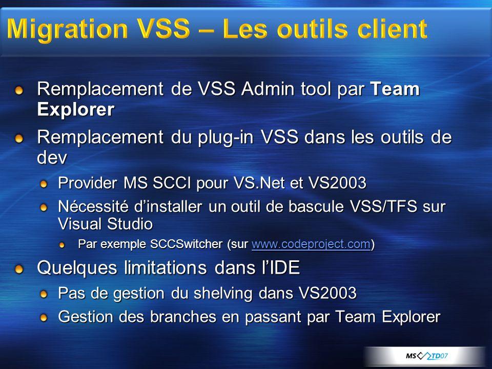 Remplacement de VSS Admin tool par Team Explorer Remplacement du plug-in VSS dans les outils de dev Provider MS SCCI pour VS.Net et VS2003 Nécessité dinstaller un outil de bascule VSS/TFS sur Visual Studio Par exemple SCCSwitcher (sur www.codeproject.com) www.codeproject.com Quelques limitations dans lIDE Pas de gestion du shelving dans VS2003 Gestion des branches en passant par Team Explorer