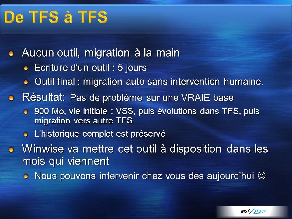 Aucun outil, migration à la main Ecriture dun outil : 5 jours Outil final : migration auto sans intervention humaine.