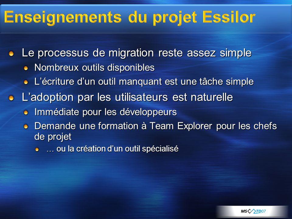 Le processus de migration reste assez simple Nombreux outils disponibles Lécriture dun outil manquant est une tâche simple Ladoption par les utilisateurs est naturelle Immédiate pour les développeurs Demande une formation à Team Explorer pour les chefs de projet … ou la création dun outil spécialisé