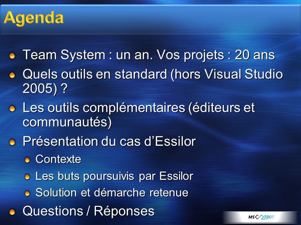 Team System : un an.Vos projets : 20 ans Quels outils en standard (hors Visual Studio 2005) .