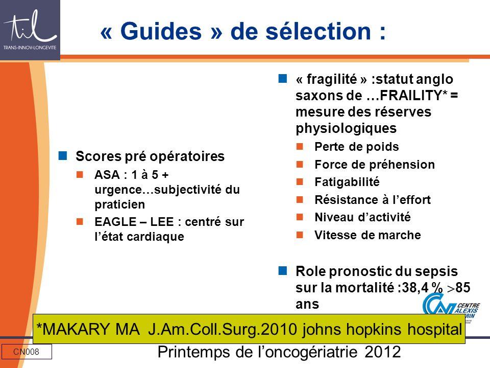 CN008 Printemps de loncogériatrie 2012 « Guides » de sélection : Scores pré opératoires ASA : 1 à 5 + urgence…subjectivité du praticien EAGLE – LEE :