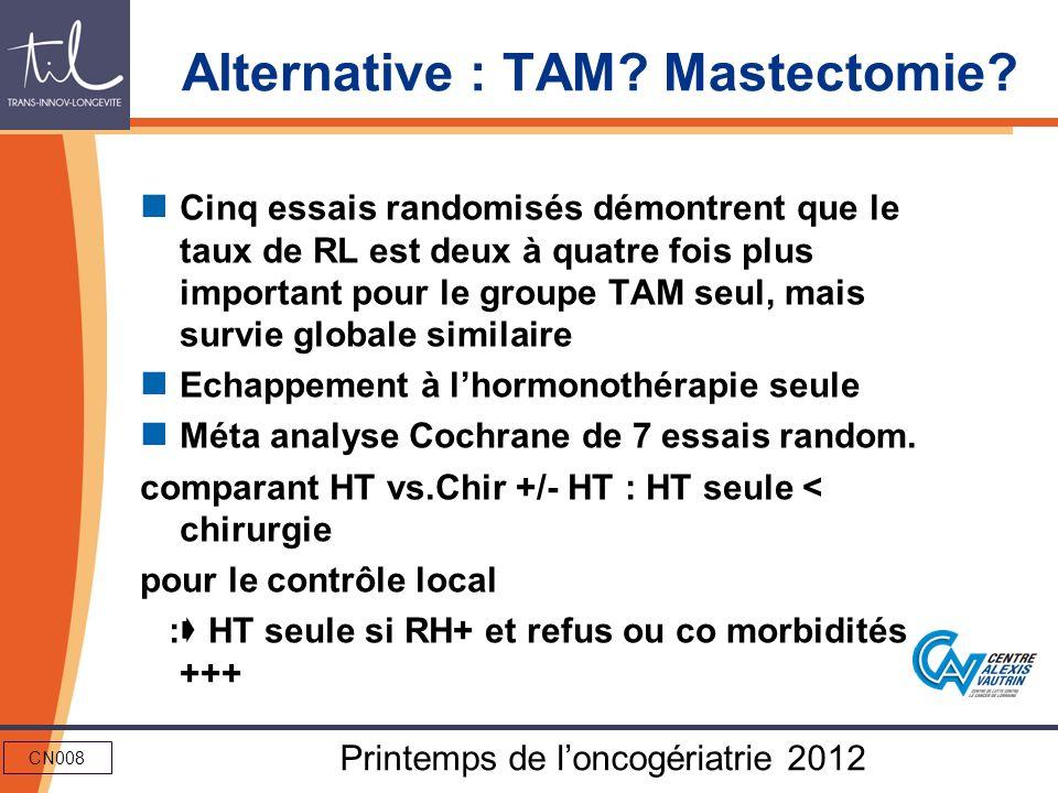 CN008 Printemps de loncogériatrie 2012 Alternative : TAM? Mastectomie? Cinq essais randomisés démontrent que le taux de RL est deux à quatre fois plus