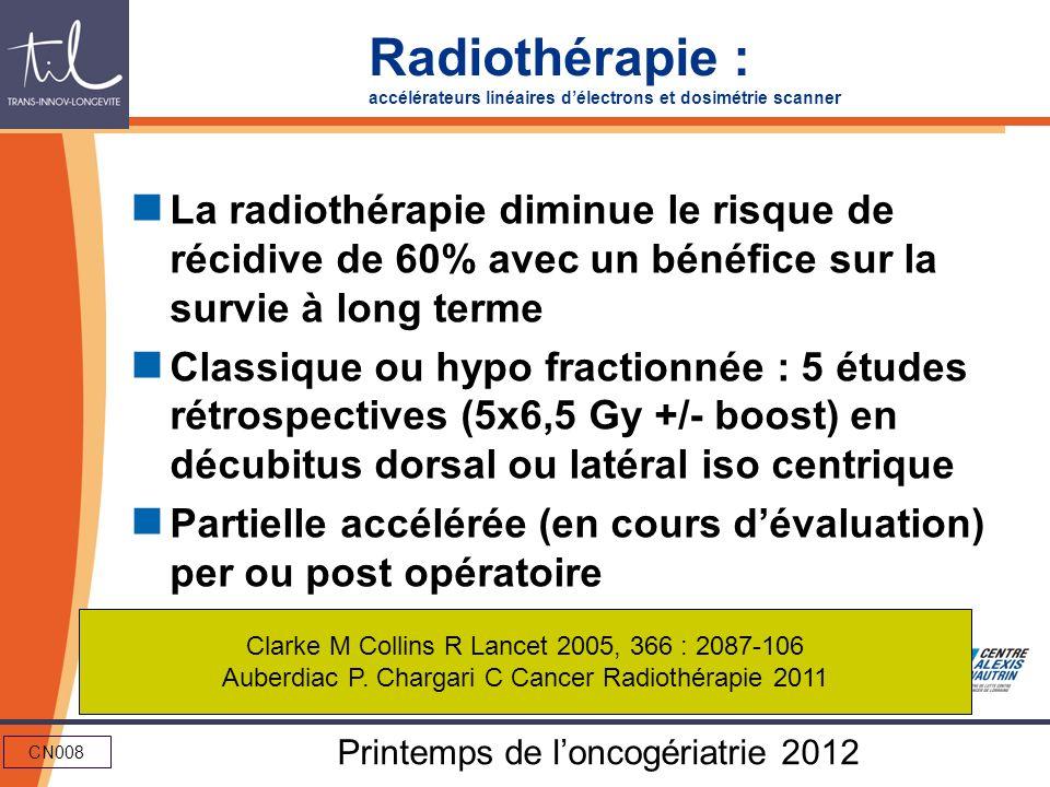 CN008 Printemps de loncogériatrie 2012 Radiothérapie : accélérateurs linéaires délectrons et dosimétrie scanner La radiothérapie diminue le risque de