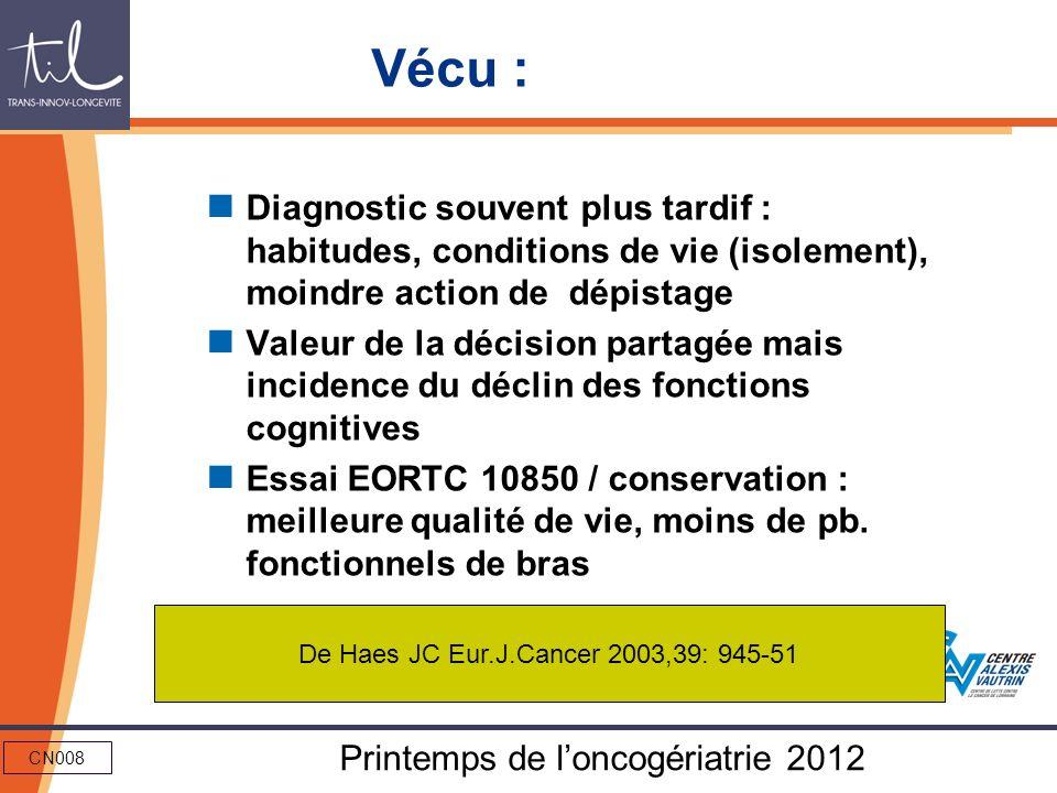 CN008 Printemps de loncogériatrie 2012 Vécu : Diagnostic souvent plus tardif : habitudes, conditions de vie (isolement), moindre action de dépistage V