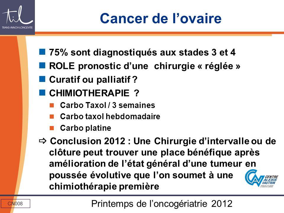 CN008 Printemps de loncogériatrie 2012 Cancer de lovaire 75% sont diagnostiqués aux stades 3 et 4 ROLE pronostic dune chirurgie « réglée » Curatif ou
