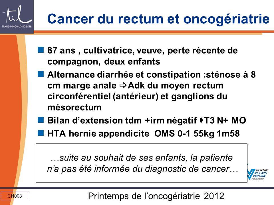 CN008 Printemps de loncogériatrie 2012 Cancer du rectum et oncogériatrie 87 ans, cultivatrice, veuve, perte récente de compagnon, deux enfants Alterna