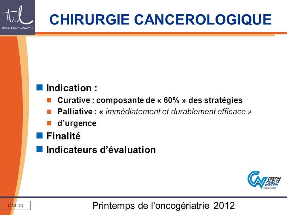 CN008 Printemps de loncogériatrie 2012 CHIRURGIE CANCEROLOGIQUE Indication : Curative : composante de « 60% » des stratégies Palliative : « immédiatem
