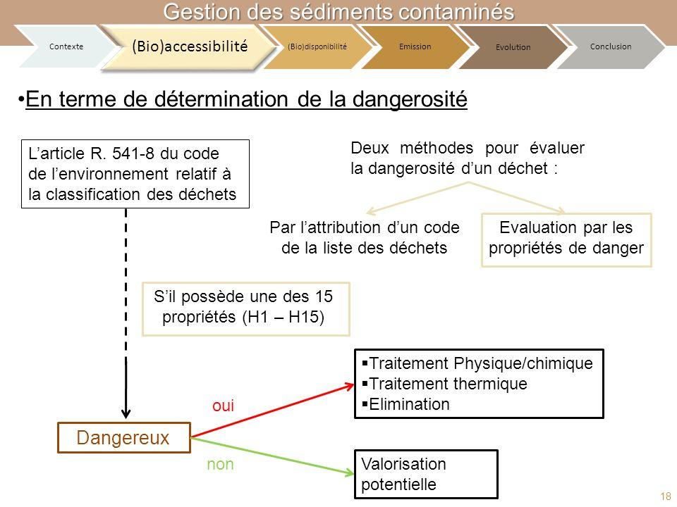 Larticle R. 541-8 du code de lenvironnement relatif à la classification des déchets Sil possède une des 15 propriétés (H1 – H15) Dangereux Traitement