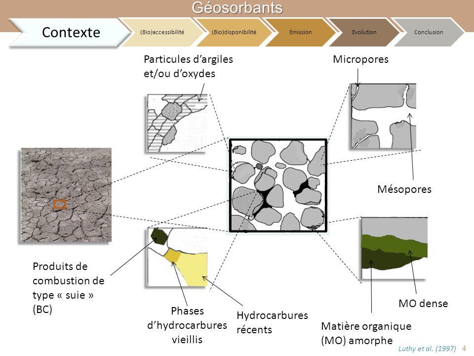 Particules dargiles et/ou doxydes Produits de combustion de type « suie » (BC) Hydrocarbures récents Phases dhydrocarbures vieillis Matière organique