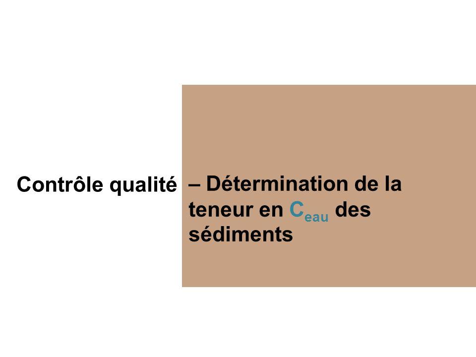 Contrôle qualité – Détermination de la teneur en C eau des sédiments