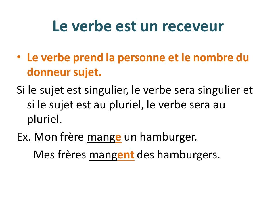 Le verbe est un receveur Le verbe prend la personne et le nombre du donneur sujet. Si le sujet est singulier, le verbe sera singulier et si le sujet e