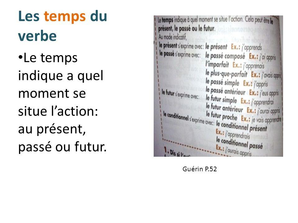Les temps du verbe Le temps indique a quel moment se situe laction: au présent, passé ou futur. Guérin P.52
