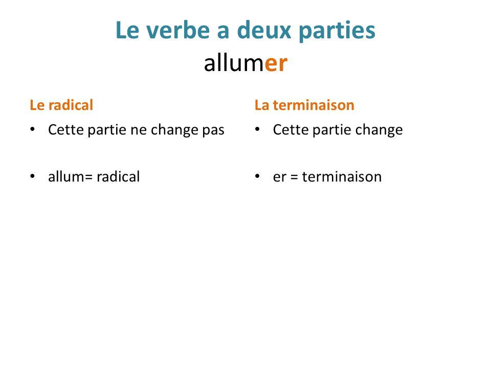 Le verbe a deux parties allumer Le radical Cette partie ne change pas allum= radical La terminaison Cette partie change er = terminaison