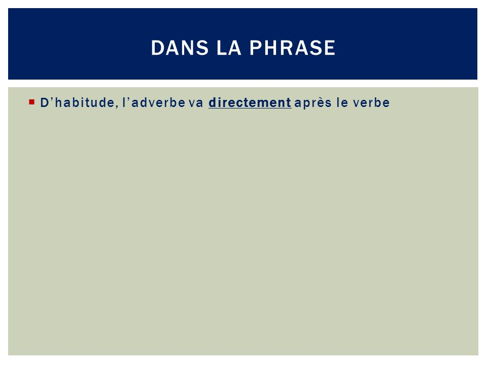 Dhabitude, ladverbe va directement après le verbe DANS LA PHRASE