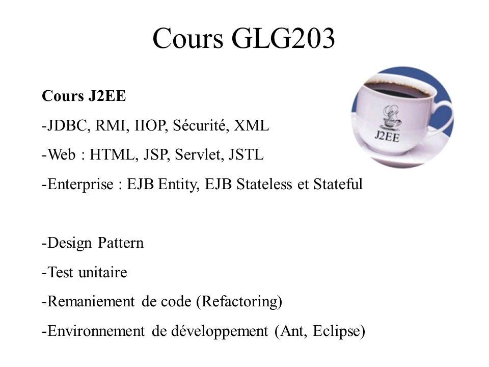 Cours GLG203 Cours J2EE -JDBC, RMI, IIOP, Sécurité, XML -Web : HTML, JSP, Servlet, JSTL -Enterprise : EJB Entity, EJB Stateless et Stateful -Design Pa