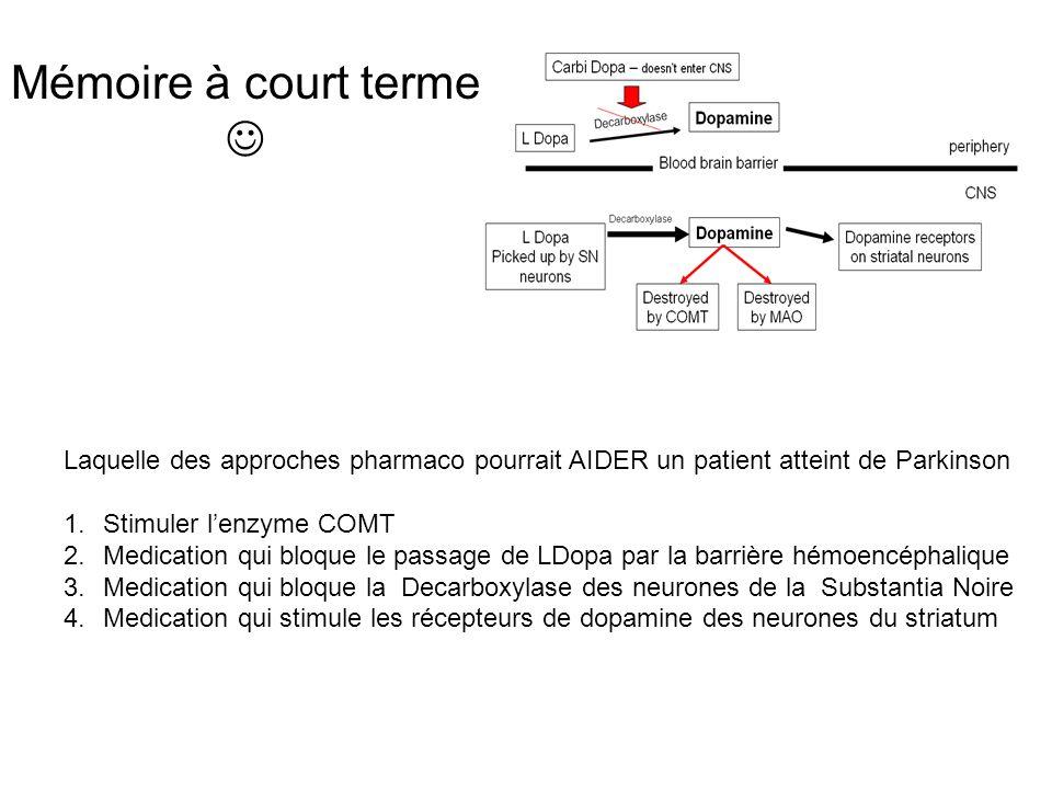 Mémoire à court terme Laquelle des approches pharmaco pourrait AIDER un patient atteint de Parkinson 1.Stimuler lenzyme COMT 2.Medication qui bloque l