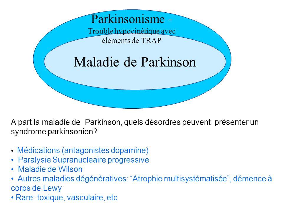 Maladie de Parkinson Parkinsonisme = Trouble hypocinétique avec éléments de TRAP A part la maladie de Parkinson, quels désordres peuvent présenter un syndrome parkinsonien.