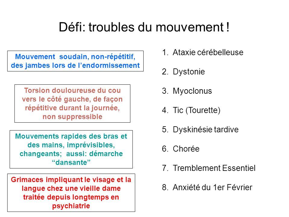 Défi: troubles du mouvement ! Mouvement soudain, non-répétitif, des jambes lors de lendormissement Torsion douloureuse du cou vers le côté gauche, de